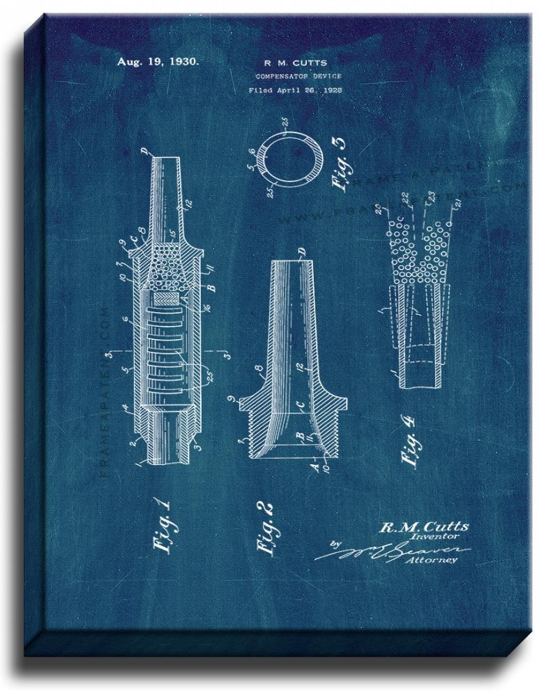 Primary image for Compensator Device Patent Print Midnight Blue on Canvas