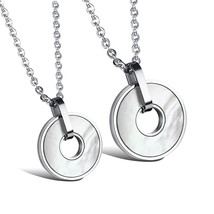 Matching Set Necklace Stainless Steel Lovers Classic Promise Necklace - $19.99