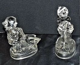 Glass Girls with Geese Figurines AA18 - 1054 Pair of two Vintage image 3