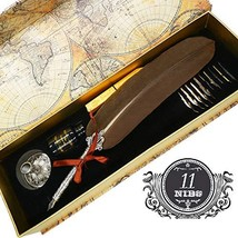 IPLETIX Writing Quill Ink Dip Pen Calligraphy Quill Pen Set with Bottle Ink &Fea