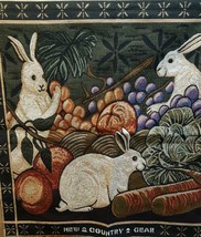 """Bunny Rabbis Vegetables Fruit New Country Gear  Tapestry Multi-color 26""""... - $32.99"""