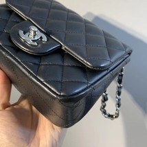 NEW AUTHENTIC CHANEL BLACK QUILTED LAMBSKIN SQUARE MINI CLASSIC FLAP BAG SHW image 5