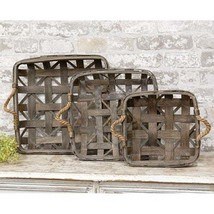 TOBACCO BASKeTS ~SQUARE w/Jute Handles ~ FARMHOUSE PRIMITIVE BASKETS ~Se... - $54.95