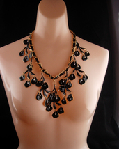 HUGE statement necklace / Black enamel / Genuine pearl drops / chandelie... - $145.00