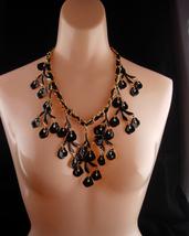 HUGE statement necklace / Black enamel / Genuine pearl drops / chandelier bib  w - $145.00
