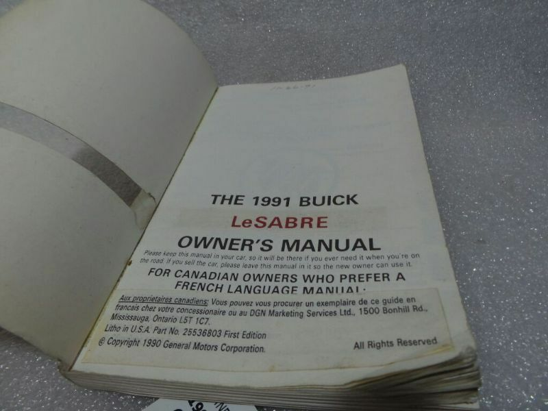 BUICK LESABRE   1991 Owners Manual 14740