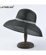 Hats Women Fashion New Hepburn Black And White Beach Wide Brim Straw Hat... - $17.74