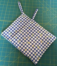 Hand Made Pot Holder Table Cloth Fabric Blue Gingham Yellow Flowers - Se... - $8.00