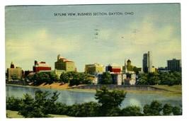 Skyline View Business Section Dayton Ohio Linen Postcard 1945 - $13.86