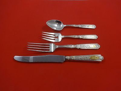 Primary image for Saint Dunstan Chased Gold by Gorham Sterling Dinner Size Place Setting(s) 4pc