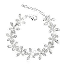 LNRRABC Salable Women Golden/Silvery Bracelet Snowflake Crystal Set Drill Charm  - $13.36