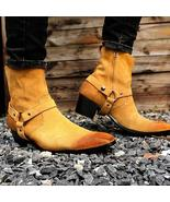 Handmade Mens Tan color Suede size zipper boots, Mens fashion ankle styl... - $179.99