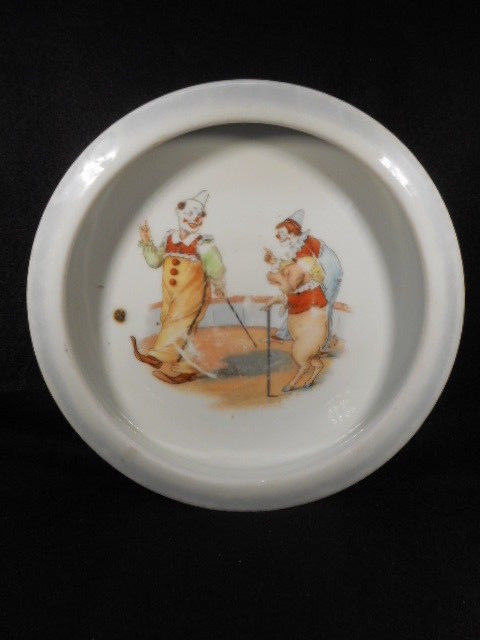 Vintage Baby Child Feeding Dish German Circus Clowns and Pig