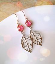 Silver Leaf Pink Gem Earrings Silver Skeleton Leaf Pink Glass Gem Earrin... - $24.00