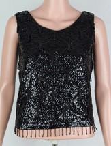 Vintage women's blouse black sequin beaded sleeveless wool Hong Kong size S - $50.00