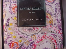 Cynthia Rowley Eaton Paisley Purple Orange Red Yellow Shower Curtain - $38.00
