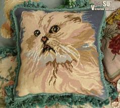 Tassel BLUE Vtg Needlepoint  Pillow Cushion Cover FRINGE~Cat Kitten Animal - $66.49