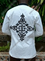 Odeneho Wear Men's White Polished Cotton Top/ Embroidery. African Clothing. - $69.30