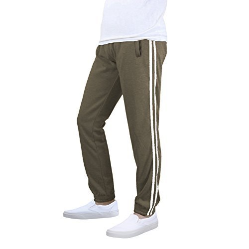 Men's Athletic Casual Elastic Gym Sport Jogger Sweat Pants (Large, Khaki / White
