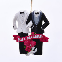 Same Sex Marriage-Christmas Ornament-Just Married Christmas Ornament - $10.93