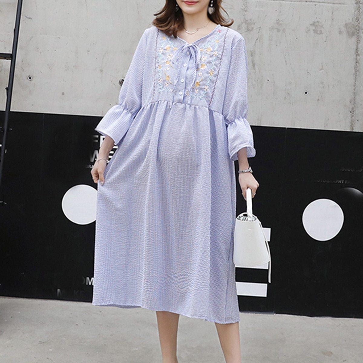 Maternity's Dress Fashion Long Sleeve Embroidery Pattern Loose Dress image 4