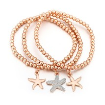 Starfish Crystal Charms Bracelets Elastic Rope Animal Charm Multi-layer ... - $9.91