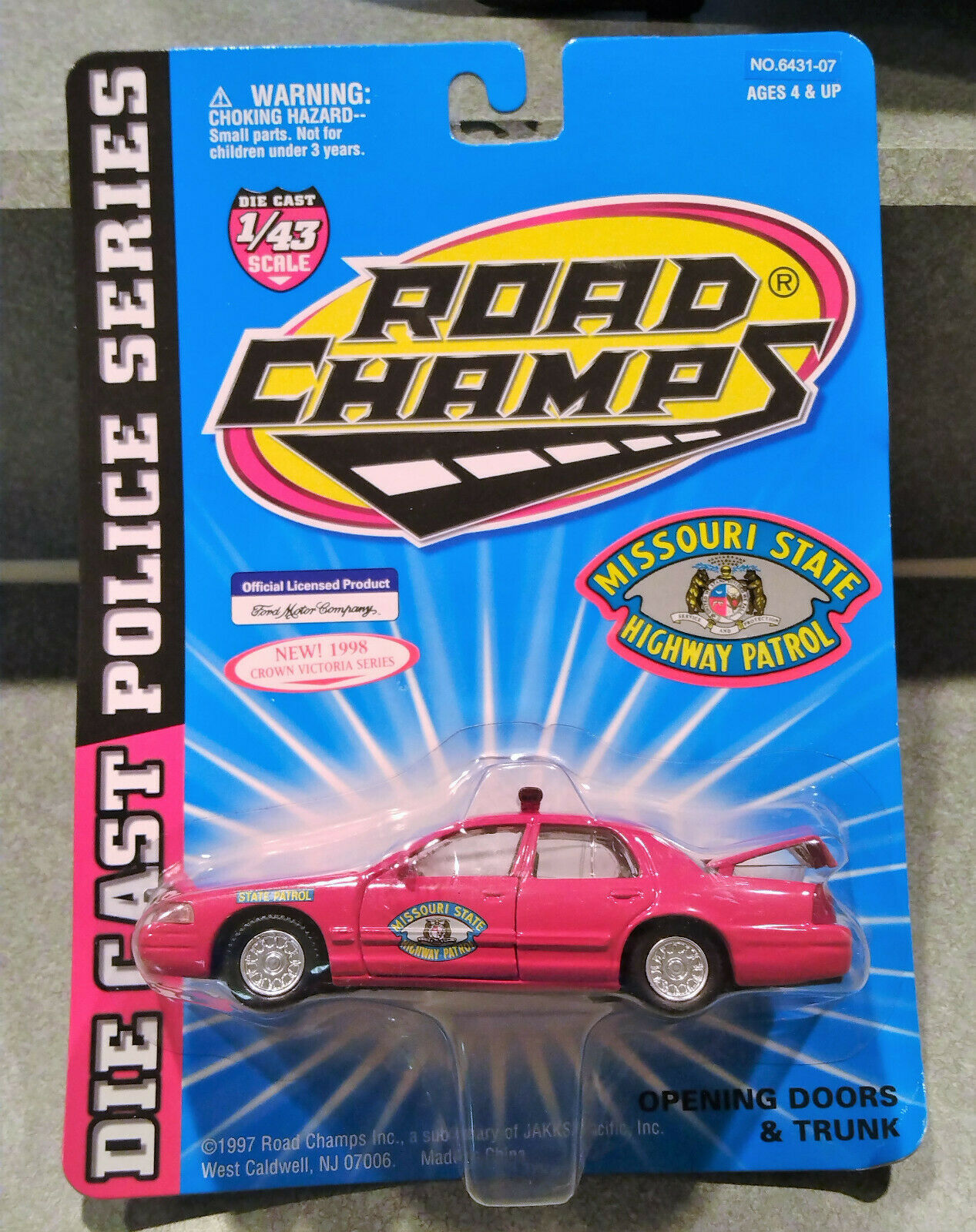 NEW Mssouri Highway Patrol 1998 Road Champs Police Series 1:43 Die Cast Car - $7.55