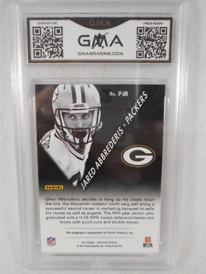 2014 Panini #52 Jared Abbrederis Potential Mirror blue Auto Rookie GMA Graded 10