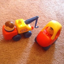 vintage little tikes chunky people cozy coupe car tow truck figures lot ... - $19.38