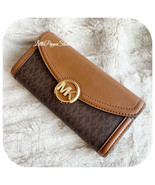 MICHAEL KORS FULTON FLAP LARGE CONTINENTAL WALLET PVC MK BROWN - $82.05