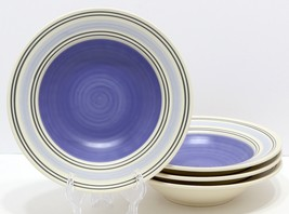 "4 Pfaltzgraff RIO Rim Soup Bowls 9"" Rimmed Blue Bands And Center  NEW! - $29.79"