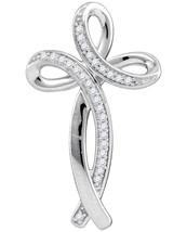 10k White Gold Womens Round Diamond Christian Cross Fashion Pendant 1/10 Cttw - $161.00