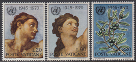 Adam and Eve UN Anniversary Set of 3 Vatican Stamps Catalog Number 492-94 MNH