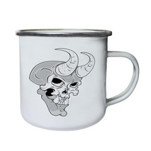 Skull With Horns Novelty Vintage Art Retro,Tin, Enamel 10oz Mug pp27e - $13.13