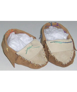 American Made! Two Tone Brown Leather Baby Moccasins, Size 2-4 infant Mo... - $33.95