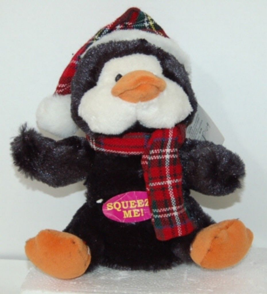 Dan Dee Collectors Choice Holiday Squeaky Soft Penguin Dog Toy Earth Rite Fiber