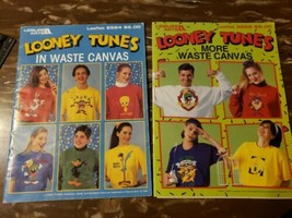 Lot of 2 books Looney Tunes in Waste Canvas / More Cross Stitch Patterns  - $7.66