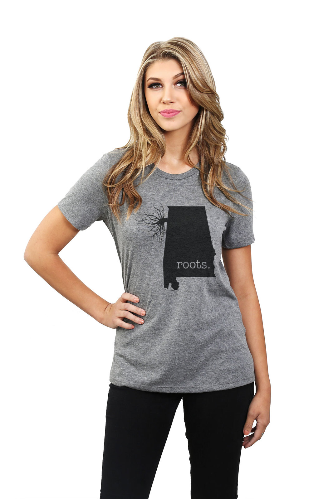 Thread Tank Home Roots State Alabama Women Relaxed T-Shirt Tee Heather Grey