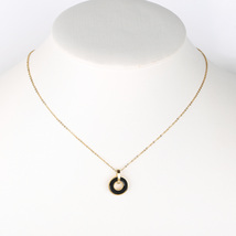 UE- Sleek Gold Tone Designer Necklace With Jet Black Faux Onyx Circular Pendant - $14.99