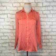 Banana Republic Women's Coral Longsleeve Button Front Shirt Size Extra S... - $13.49