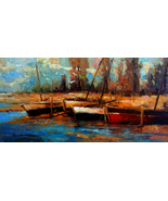 "River Boats by Kanayo Ede. Giclee print on Canvas. 24"" x 48"" - $300.00+"