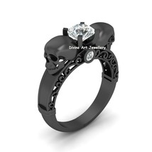 Diamond Skull Engagement Ring Womens Filigree Skull Ring Gun Metal Fn 92... - €87,50 EUR