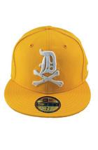 Dissizit! Mens Yellow English DX Bones Detroit New Era Fitted Baseball Hat Cap image 2