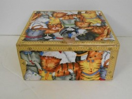 One of a Kind~Decoupaged Paper/Wood Cigar Box with Cat Fabric Theme and ... - $25.00