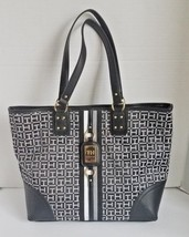 Tommy Hilfiger Women Tote Bag Black Gray 6939074 003 Signature Handbag M... - $62.95