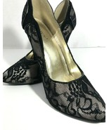 Shoedazzle Adelice 9 M Black Lace Stiletto Pump Heels Formal Dressy Shoe - $39.59