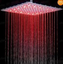 16 inch Square Temperature Sensor Changing //7 Color LED Rainfall Shower Head - $247.45