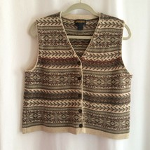 Woolrich Women's Sweater Vest Size L Khaki Olive Green Tribal Striped Buttons - $16.00