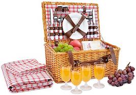 Picnic Basket for 4 Person   Red Picnic Hamper Set   Folding Picnic Blan... - $1.173,95 MXN