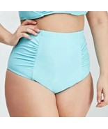 Forever 21 + High Waist Bright Aqua Ruched Side Bikini Bottom Plus Size ... - $8.71